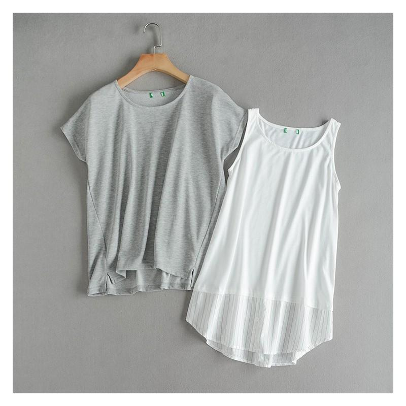 Свадьба - Must-have Oversized Vogue Split Front Slimming Short Sleeves Chiffon Summer Twinset T-shirt Sleeveless Top - Discount Fashion in beenono