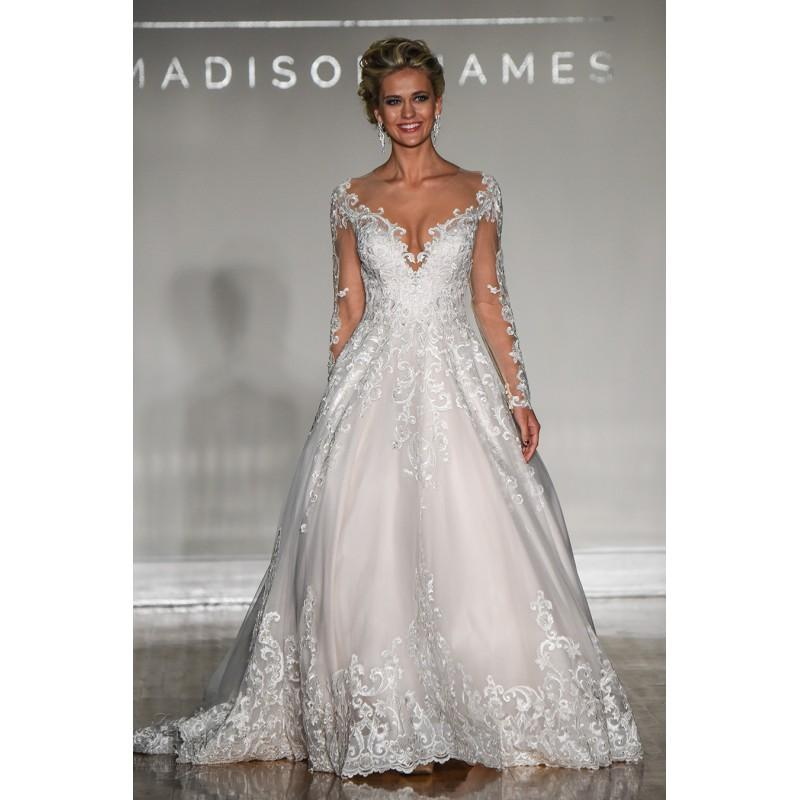 Wedding - Madison James Fall/Winter 2017 Chapel Train Elegant Ivory Ball Gown Illusion Long Sleeves Tulle Appliques Wedding Dress - 2018 Spring Trends Dresses