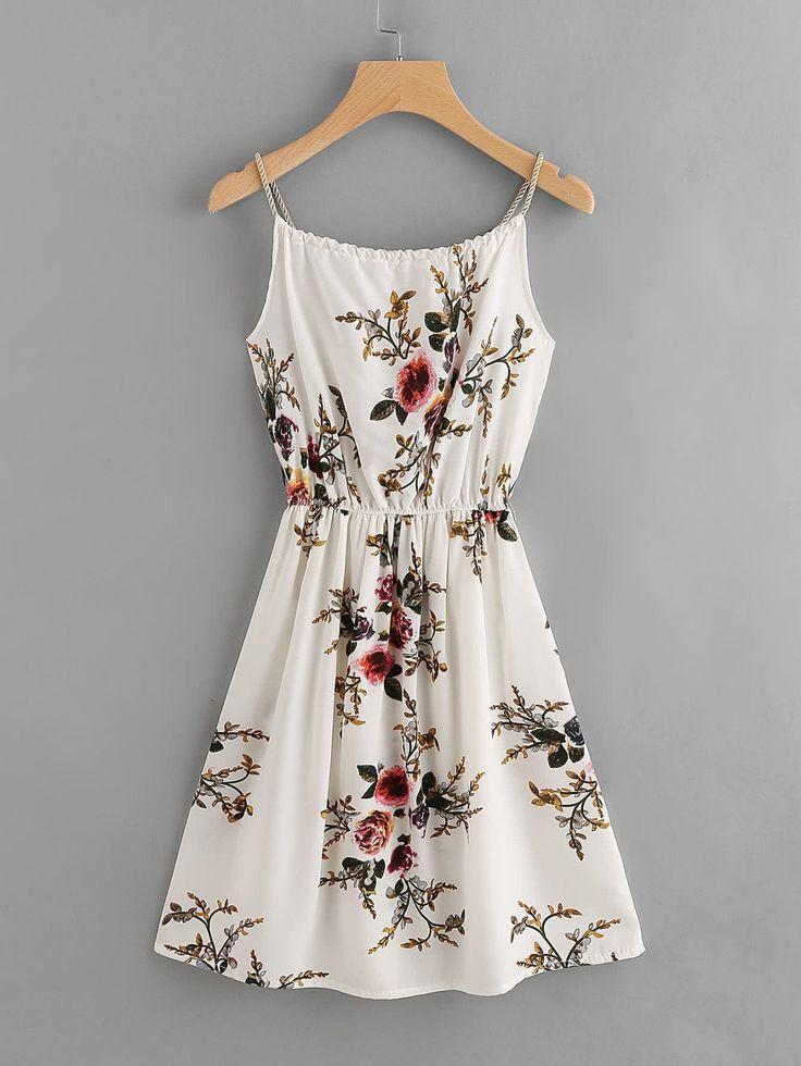 Hochzeit - Floral Print Random Self Tie Cami Dress