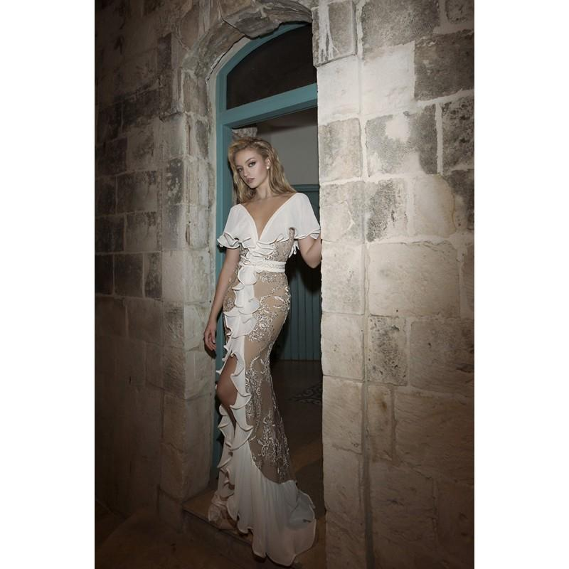 Wedding - Dany Mizrachi Spring/Summer 2018 DM18/18 S/S Chapel Train Champagne V-Neck Sheath Butterfly Sleeves Tulle Embroidery Bridal Gown - 2018 Unique Wedding Shop