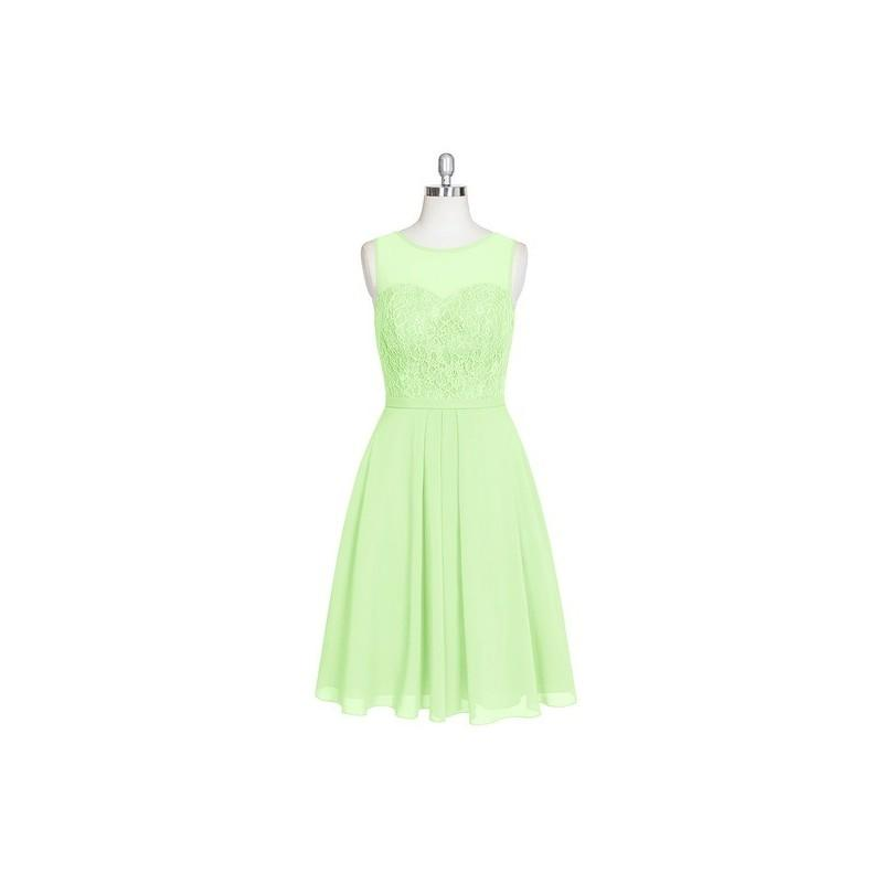 Wedding - Sage Azazie Willow - Knee Length Back Zip Sweetheart Chiffon And Lace - Simple Bridesmaid Dresses & Easy Wedding Dresses