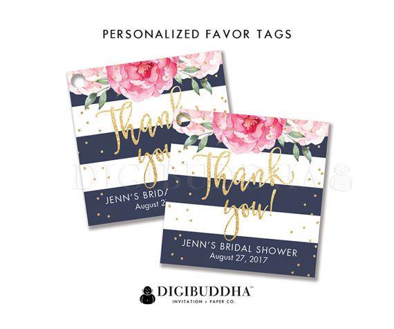 floral bridal shower favor tag custom gift tag bridal shower favor