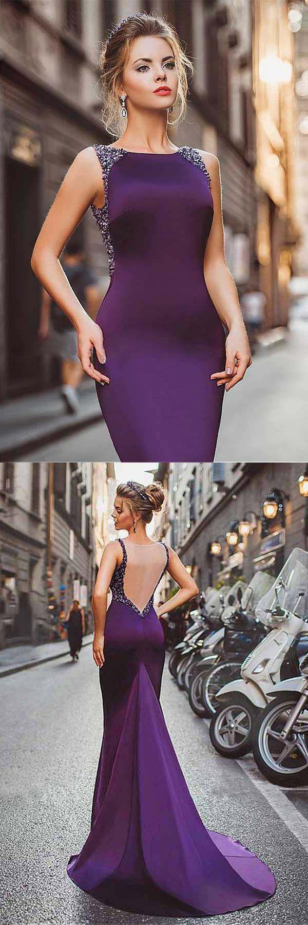 Свадьба - Cheap Trendy Prom Dresses Mermaid Neckline Satin Purple Mermaid Evening Dresses With Beadings