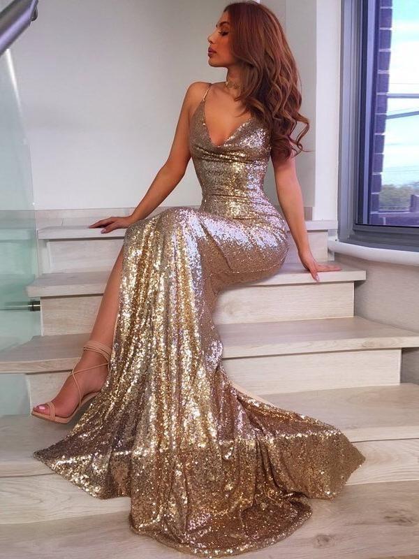 Свадьба - Trumpet/Mermaid Spaghetti Straps Sparkly Sequins Sexy Long Prom Dresses/Evening Dress AMY778