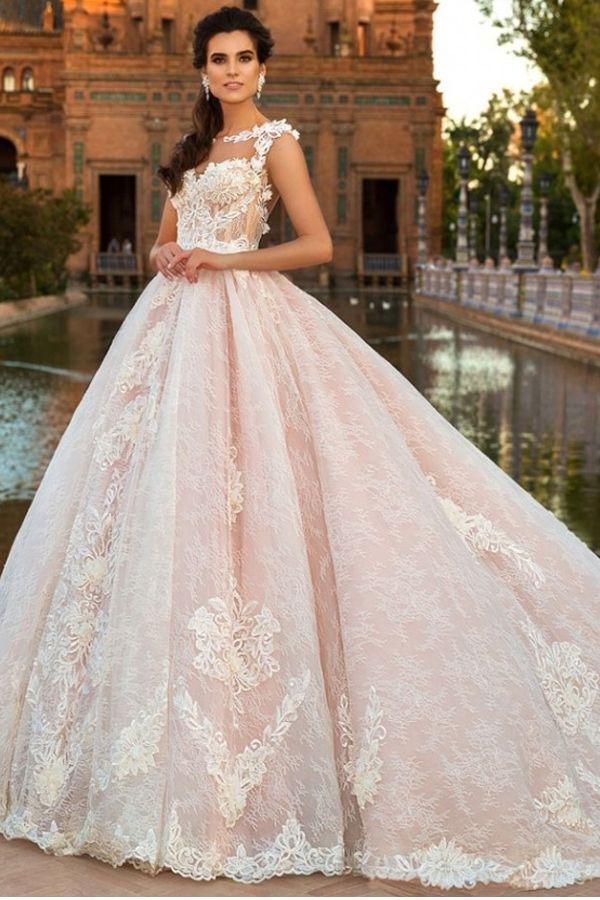 Wedding - Gorgeous Tulle & Satin Bateau Neckline A-Line Wedding Dresses With Beaded Lace Appliques