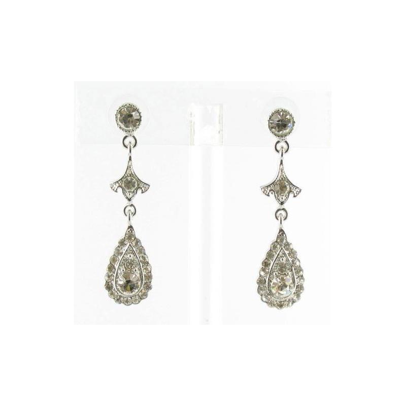 Mariage - Helens Heart Earrings JE-X505-Silver-Clear Helen's Heart Earrings - Rich Your Wedding Day