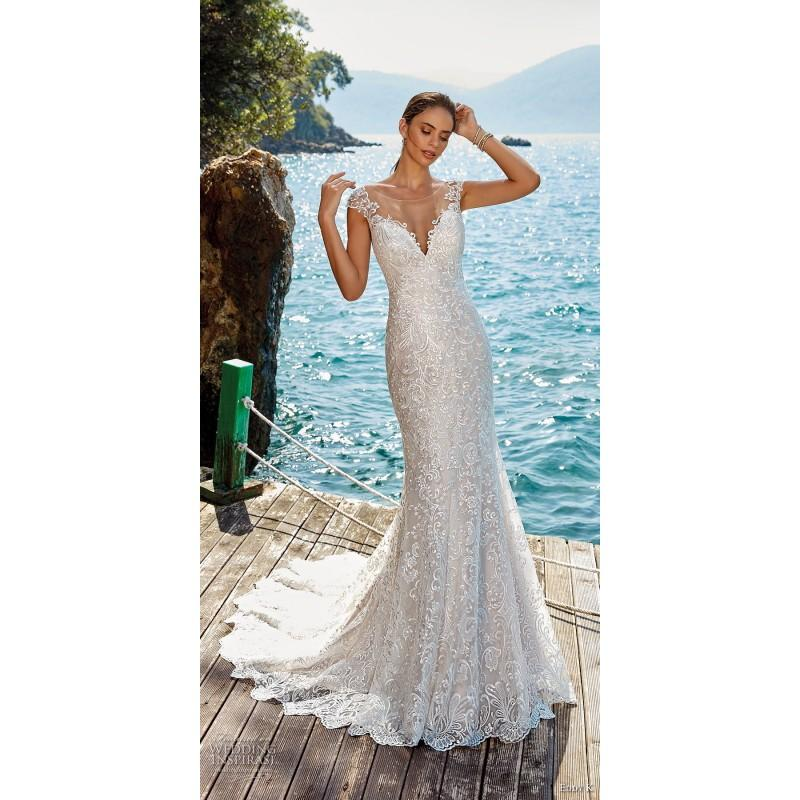 Wedding - Eddy K. 2019 Sweet Ivory Chapel Train Fit & Flare Illusion Cap Sleeves Lace Spring Embroidery Covered Button Bridal Dress - Branded Bridal Gowns