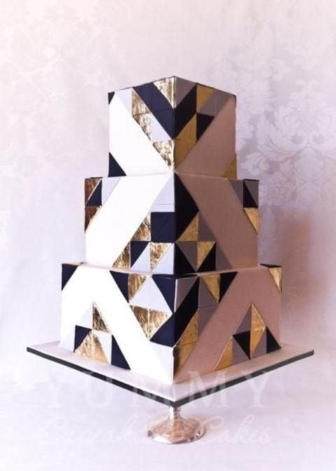 Wedding - 37 Stylish Geometric Wedding Cakes
