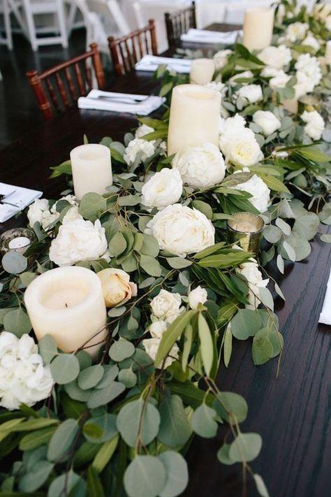 Wedding - COLOR OF THE YEAR 2017 - Greenery Wedding Centerpiece Ideas
