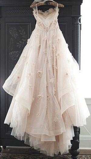 Wedding - Appliqued Tulle Wedding Gowns,Princess Wedding Dress With Flowers,A-line Wedding Dress,N110