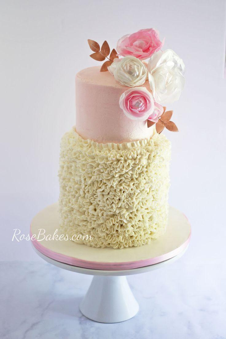 Hochzeit - Buttercream Ruffles & Wafer Paper Flowers Cake