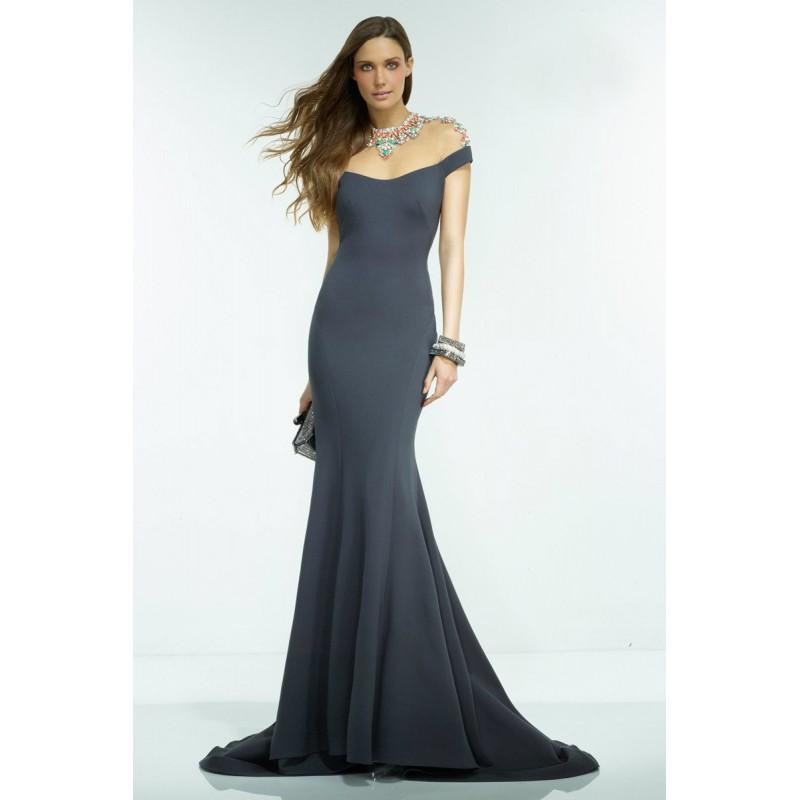 Wedding - Alyce Paris - Statuesque Jewel Illusion Long Evening Gown 2553 - Designer Party Dress & Formal Gown