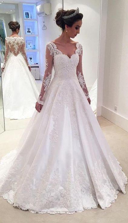 Hochzeit - Custom Made Substantial Long Sleeve Wedding Dresses, White Long Sleeve Wedding Dresses, Long Wedding Dresses, Long Sleeves Lace A-line High Low Long White V-neck Wedding Dresses WF01G42-322