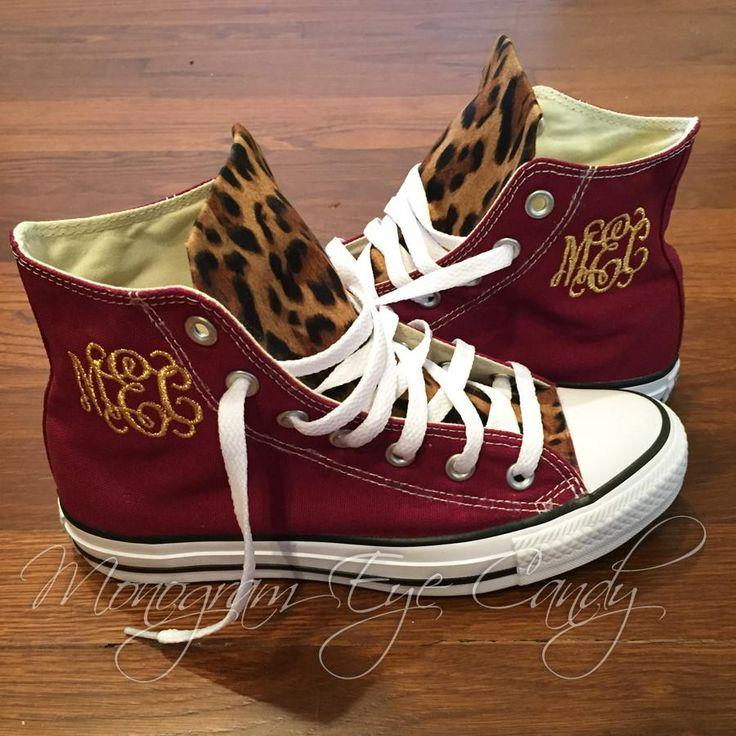 زفاف - Customized Converse Sneakers- Wine/Cheetah Print