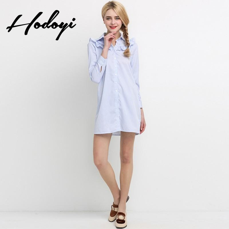 Mariage - Vogue Sweet Agaric Fold Summer Stripped Blouse Dress - Bonny YZOZO Boutique Store