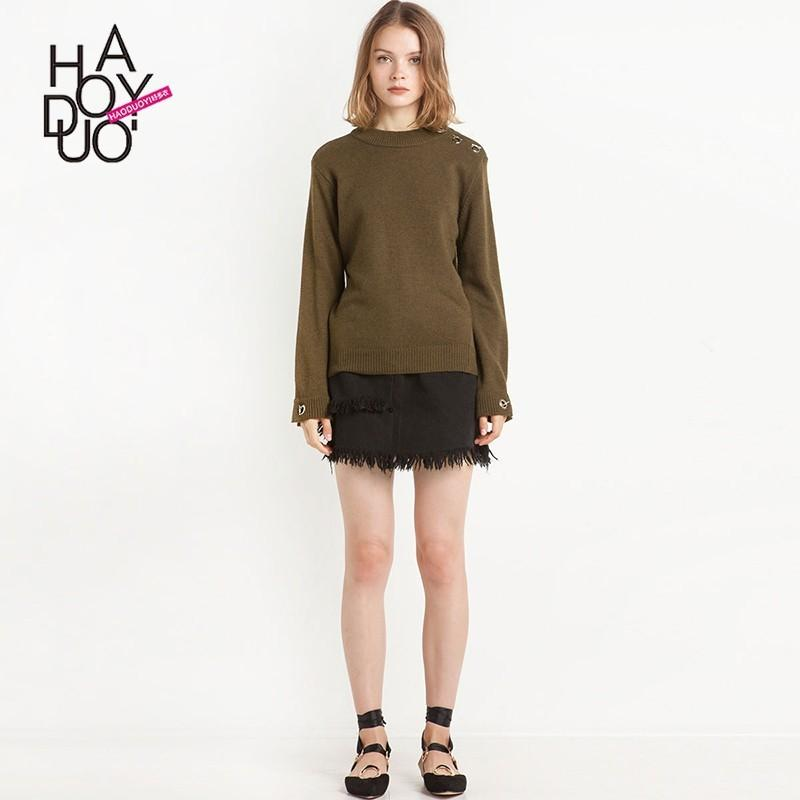 Wedding - Vogue Accessories Metal Buckle One Color Fall 9/10 Sleeves Sweater - Bonny YZOZO Boutique Store