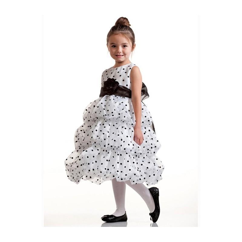 Mariage - White Bubble Layered Organza Dress w/ Black Polka Dots Style: D929 - Charming Wedding Party Dresses