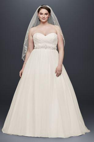 Свадьба - Plus Size Tulle Wedding Dress With Pleated Bodice Style 9NTWG3802