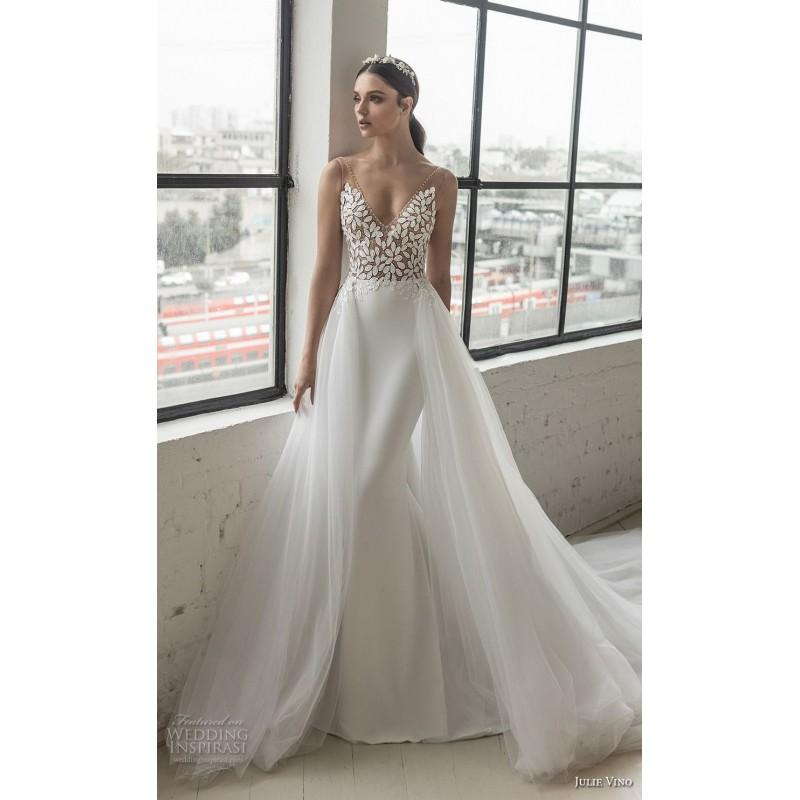 Свадьба - Julie Vino 2018 1554 Appliques Tulle Open Back Elegant V-Neck Aline Sleeveless Detachable Ivory Wedding Gown - Rich Your Wedding Day