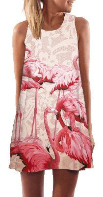 زفاف - Women's Pink Flamingo Design Summer Shift Dress