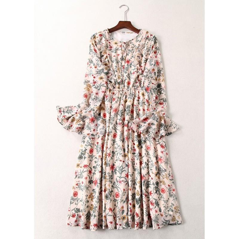 زفاف - Vogue Fresh Flare Sleeves Chiffon Floral Over Knee Frilled Dress - Lafannie Fashion Shop