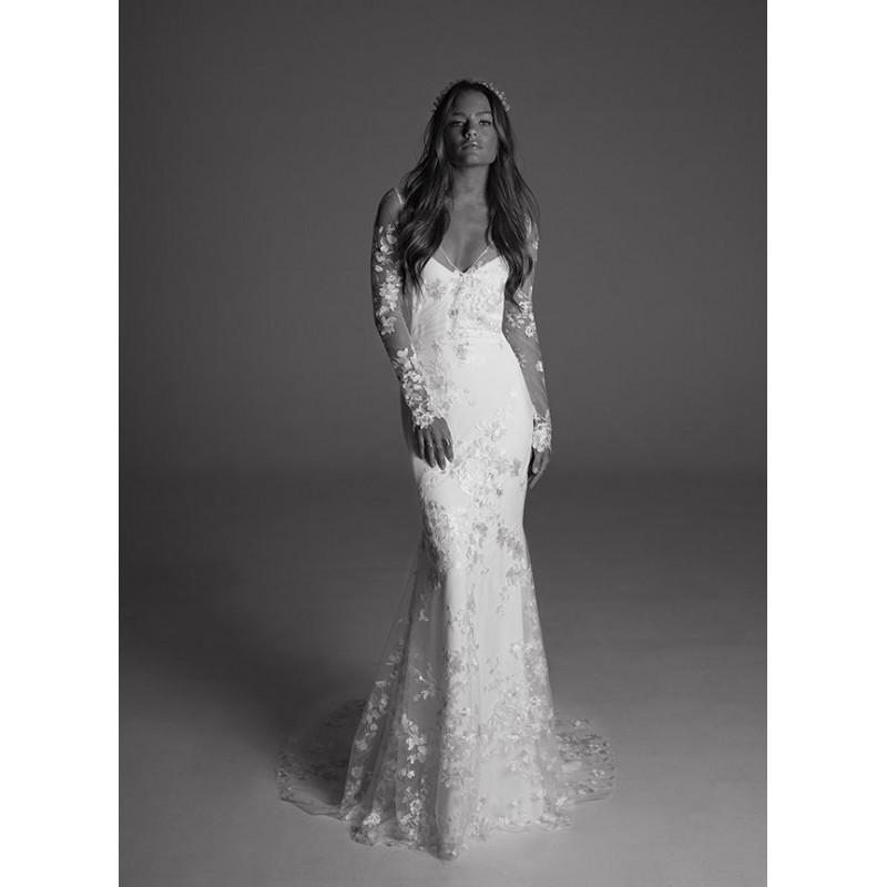 Wedding - Rime Arodaky Fall/Winter 2017 Dover Court Train Fit & Flare V-Neck Long Sleeves Keyhole Back Embroidery Lace Dress For Bride - Formal Day Dresses