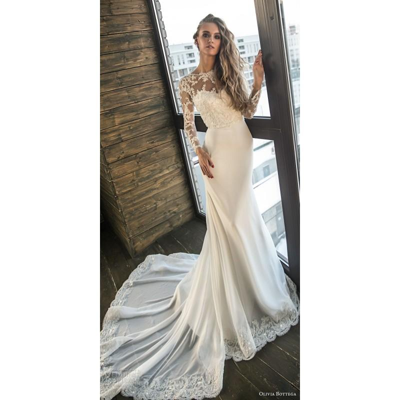 Wedding - Olivia Bottega 2018 Vikayt Chapel Train Sweet Illusion Fit & Flare Long Sleeves Appliques Chiffon Open V Back Wedding Dress - Royal Bride Dress from UK - Large Bridalwear Retailer