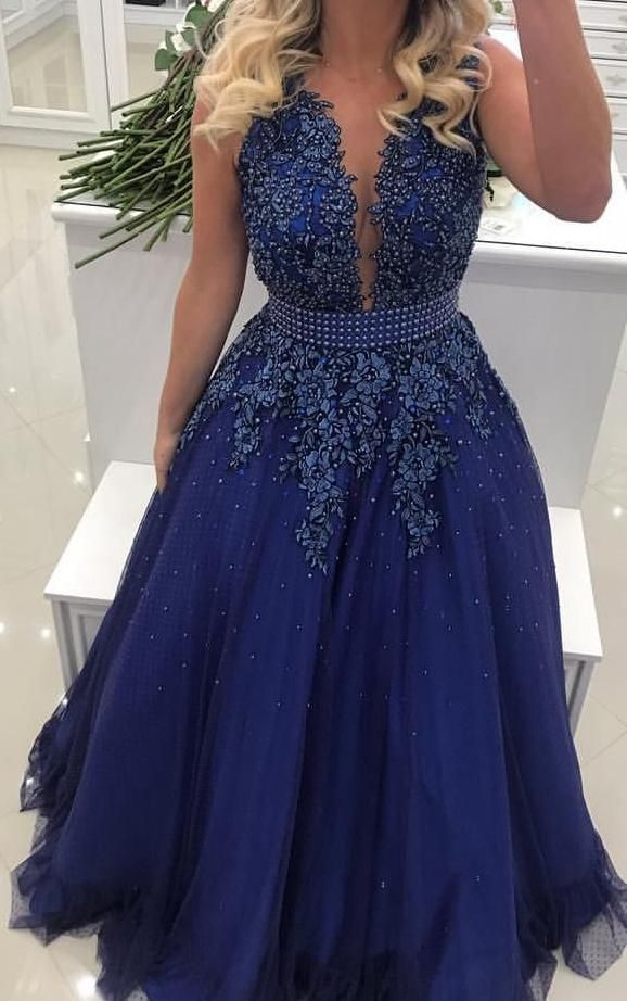 Boda - A-line Floor Length Prom Dress With Applique And Pearls Semi Formal Dresses Wedding Party Dress LP173