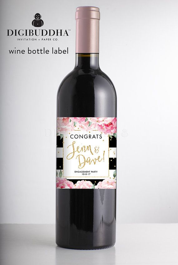 Wedding - ENGAGEMENT WINE LABEL Modern Wine Bottle Stickers Engagement Party Wine Champagne Label Custom Personalized Custom Wine Bachelorette - Jenn