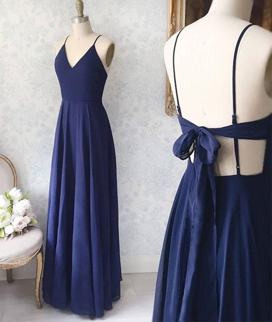 Hochzeit - Simple V Neck Blue Long Prom Dress, Blue Evening Dress