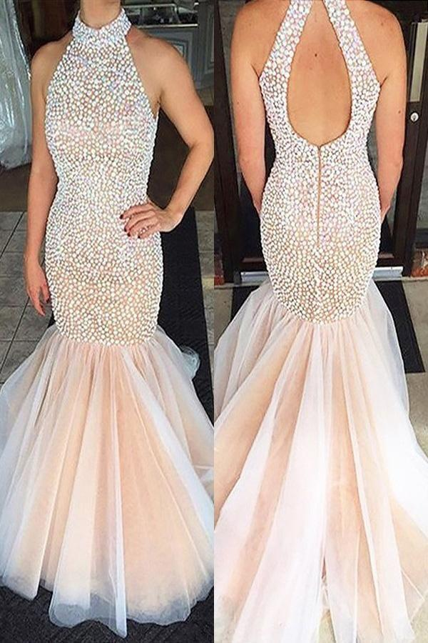 Wedding - Pearl Pink Mermaid Halter Sleeveless Beading Tulle Floor-Length Long Prom Dresses P559