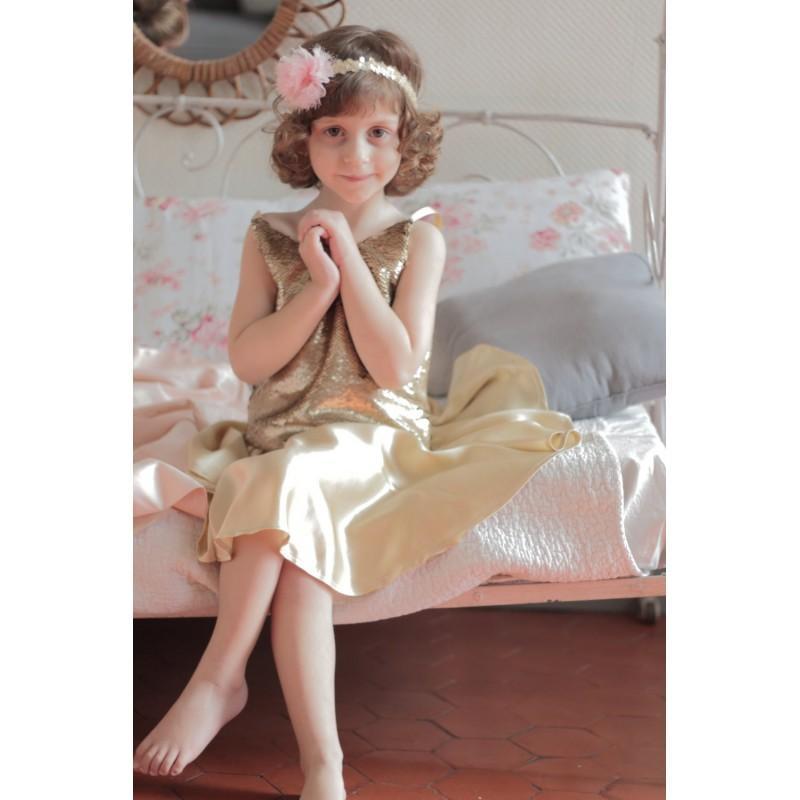 Hochzeit - outfit gold sequin top and gold silk skater skirt - bridesmaid silk dress - gold sequin flower girl dress - Hand-made Beautiful Dresses