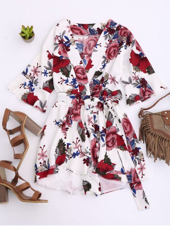 Wedding - Floral Plunging Neck Surplice Romper