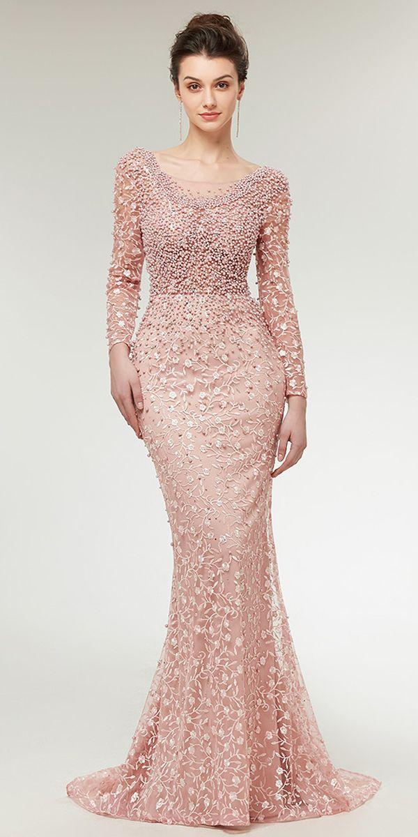 Свадьба - Stunning Lace Scoop Neckline Long Sleeves Mermaid Evening Dress With Beadings