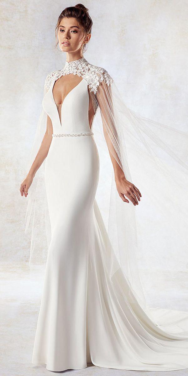 Свадьба - Eey-catching Chiffon & Tulle V-neck Neckline Mermaid Wedding Dress With Beadings & Shawl