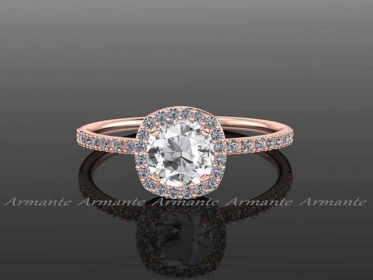 Hochzeit - White Sapphire Engagement Ring, Diamond Halo Engagement Ring