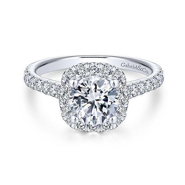 Свадьба - Platinum .66cttw Amavida Cushion Halo Diamond Engagement Ring Mounting With Ornate Gallery