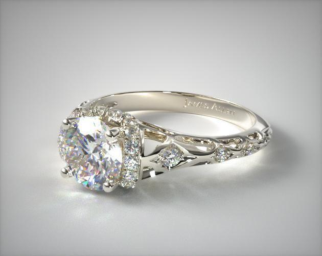 Hochzeit - Vintage Inspired Ring In Platinum - Setting Only