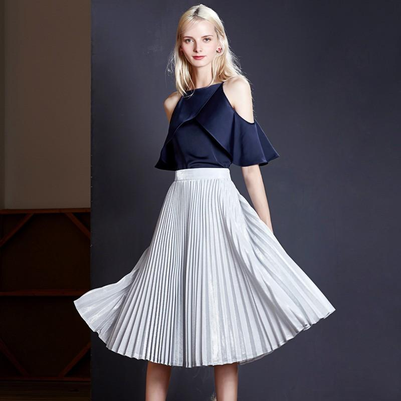 Свадьба - Elegant Vintage Pleated Ruffle Trail Dress One Color Mid-length Skirt Skirt - Bonny YZOZO Boutique Store
