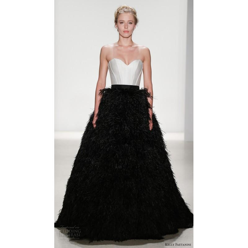Wedding - Kelly Faetanini Macbeth Spring/Summer 2018 Sleeveless Court Train Black Sweetheart Ball Gown Sweet Satin Feather Wedding Dress - Truer Bride - Find your dreamy wedding dress