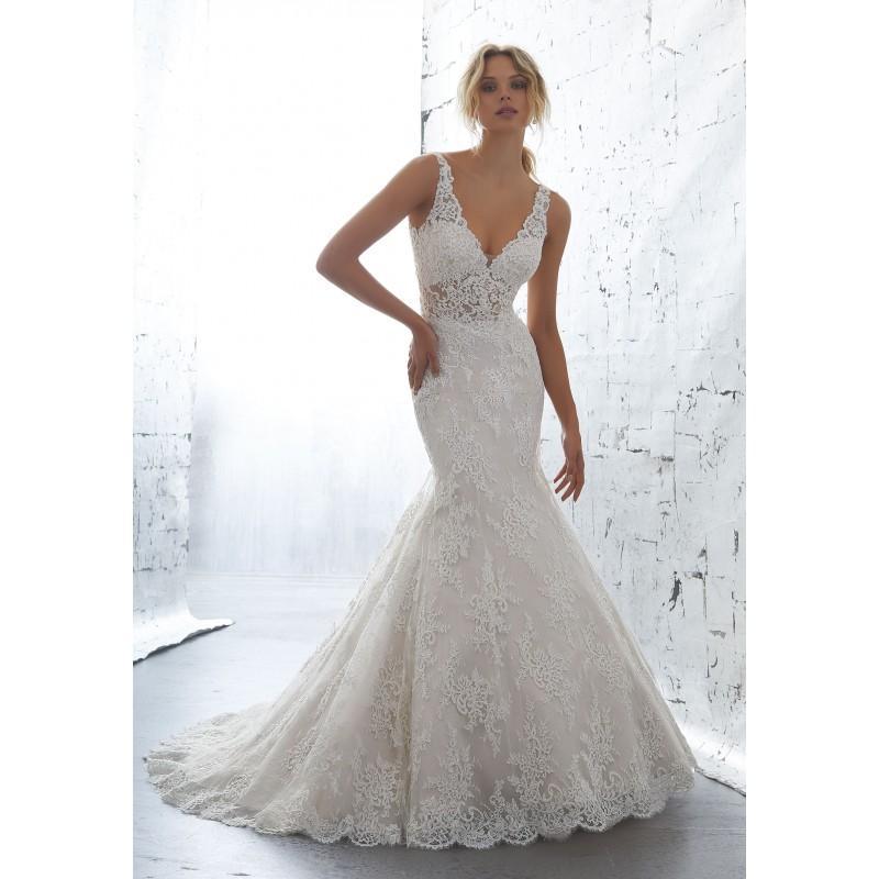 Hochzeit - Morilee by Madeline Gardner 2018 Karla 1705 Ivory Appliques Elegant Open Back Chapel Train V-Neck Mermaid Lace Dress For Bride - Designer Party Dress & Formal Gown