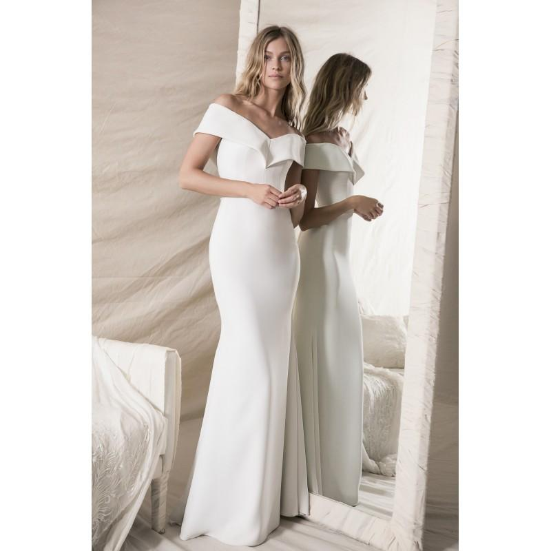 Wedding - Lihi Hod Fall/Winter 2018 Olivia Simple Sweep Train Ivory Off-the-shoulder Sheath Short Sleeves Satin with Sash Dress For Bride - 2018 Unique Wedding Shop