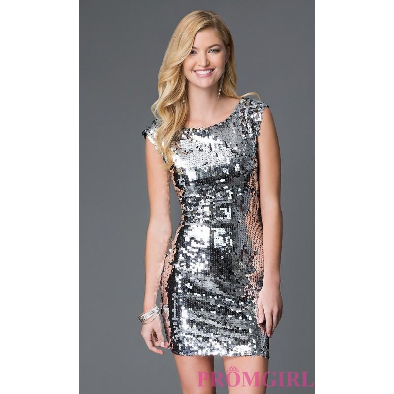 Wedding - Sequin Short Holiday Dress with Cap Sleeves - Brand Prom Dresses