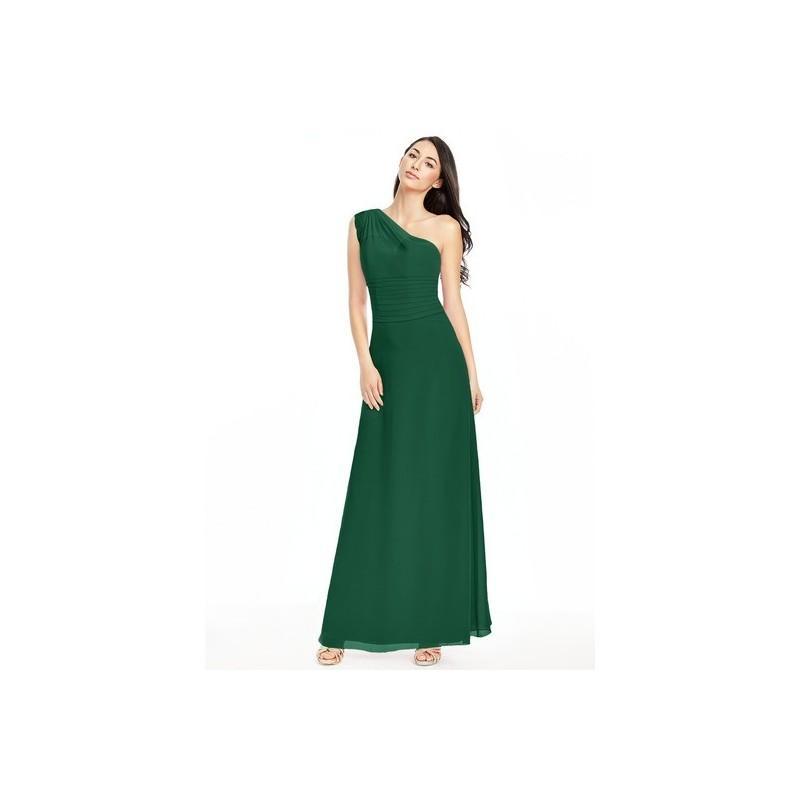 زفاف - Dark_green Azazie Kallie - One Shoulder Floor Length Chiffon And Lace Strap Detail Dress - Charming Bridesmaids Store