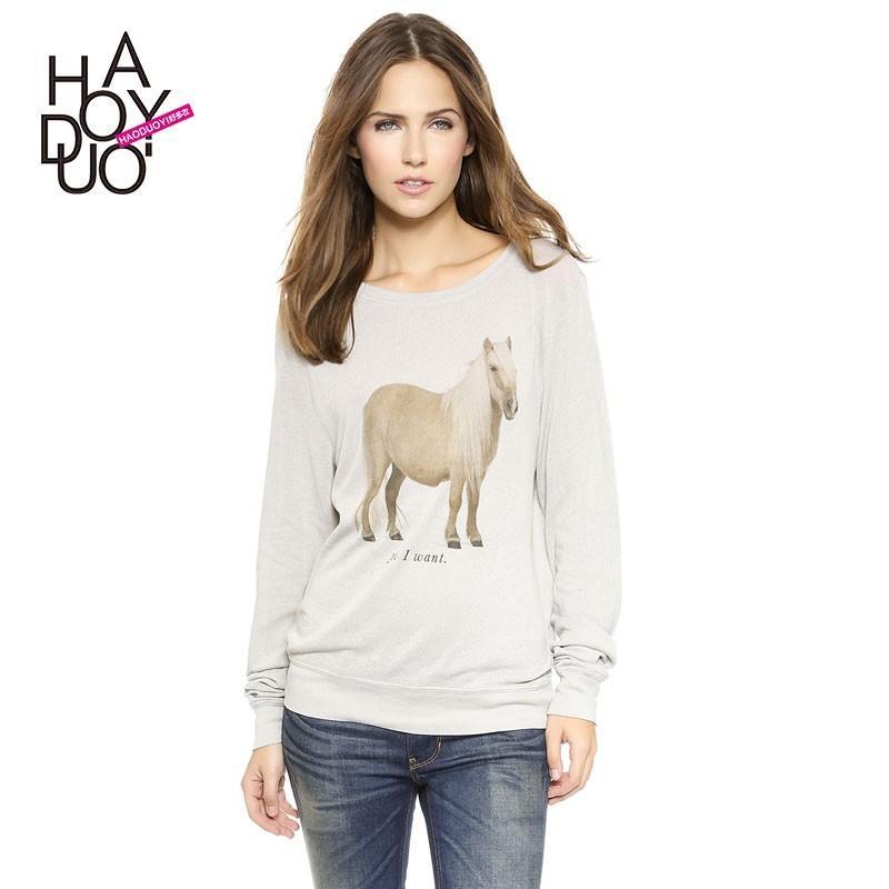 Свадьба - All I Want letters pony logo ribbed hem beach wind Sweatshirt sweater - Bonny YZOZO Boutique Store