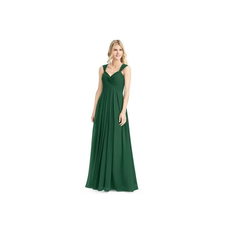 Hochzeit - Dark_green Azazie Kaitlynn - Chiffon V Neck Back Zip Floor Length Dress - Charming Bridesmaids Store