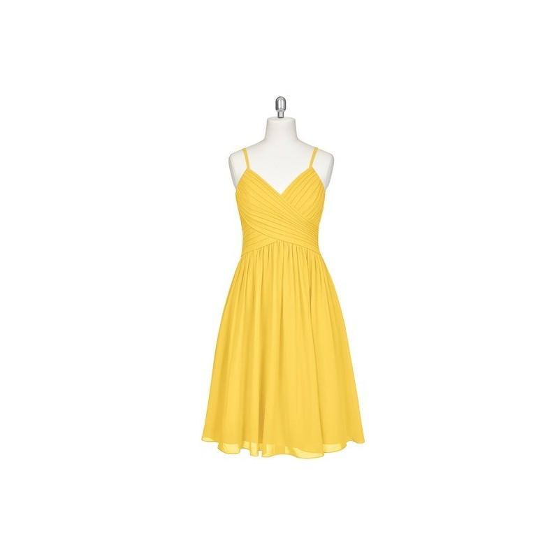 dabbddc8815c62 Marigold Azazie Sonia - V Neck Chiffon Knee Length Back Zip Dress - Simple  Bridesmaid Dresses   Easy Wedding Dresses