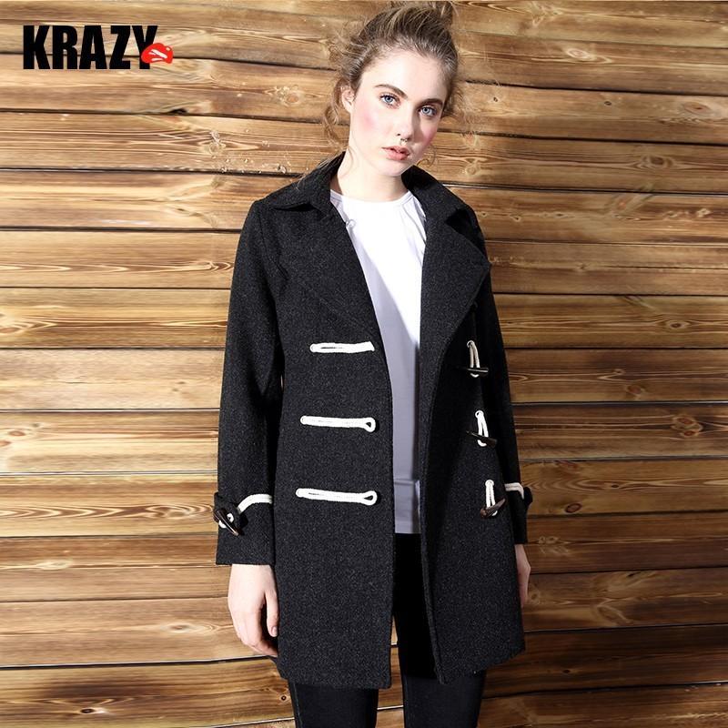 Hochzeit - British Style Horn Button Wool Spring Overcoat - Bonny YZOZO Boutique Store