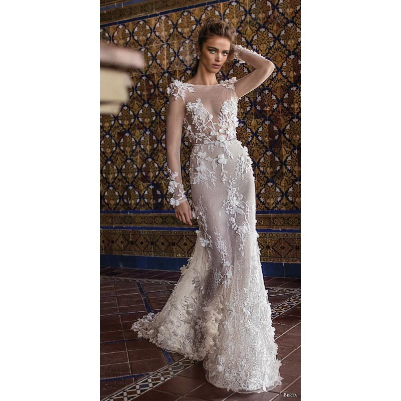 Свадьба - Berta Fall/Winter 2018 Style 18-109 Blush Chapel Train Long Sleeves Illusion Fit & Flare Lace Hand-made Flowers Dress For Bride - Bridesmaid Dress Online Shop