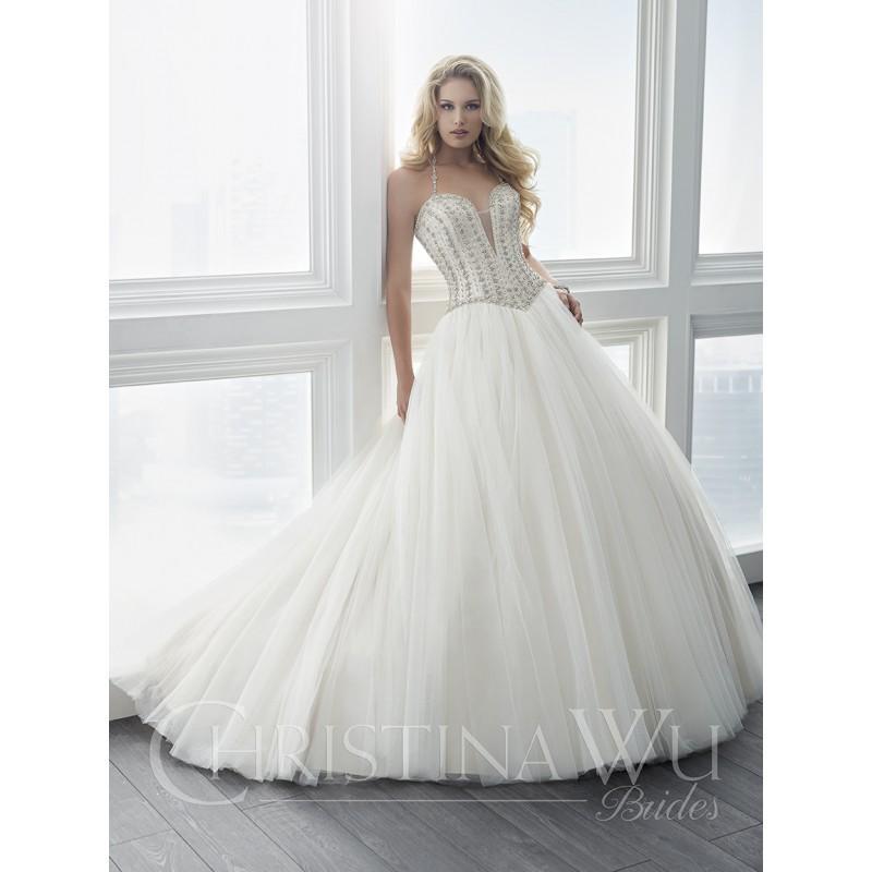 Свадьба - Christina Wu Brides Spring/Summer 2017 15616 Chapel Train Sleeveless Sweet Halter Ball Gown Ivory Tulle Beading Bridal Dress - 2018 Spring Trends Dresses